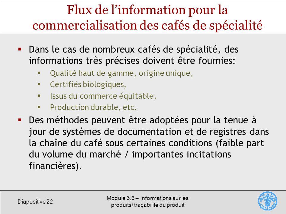 Diapositive 22 Module 3.6 – Informations sur les produits/ traçabilité du produit Flux de linformation pour la commercialisation des cafés de spéciali