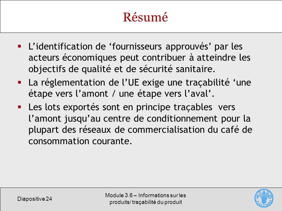 Diapositive 24 Module 3.6 – Informations sur les produits/ traçabilité du produit Résumé Lidentification de fournisseurs approuvés par les acteurs éco