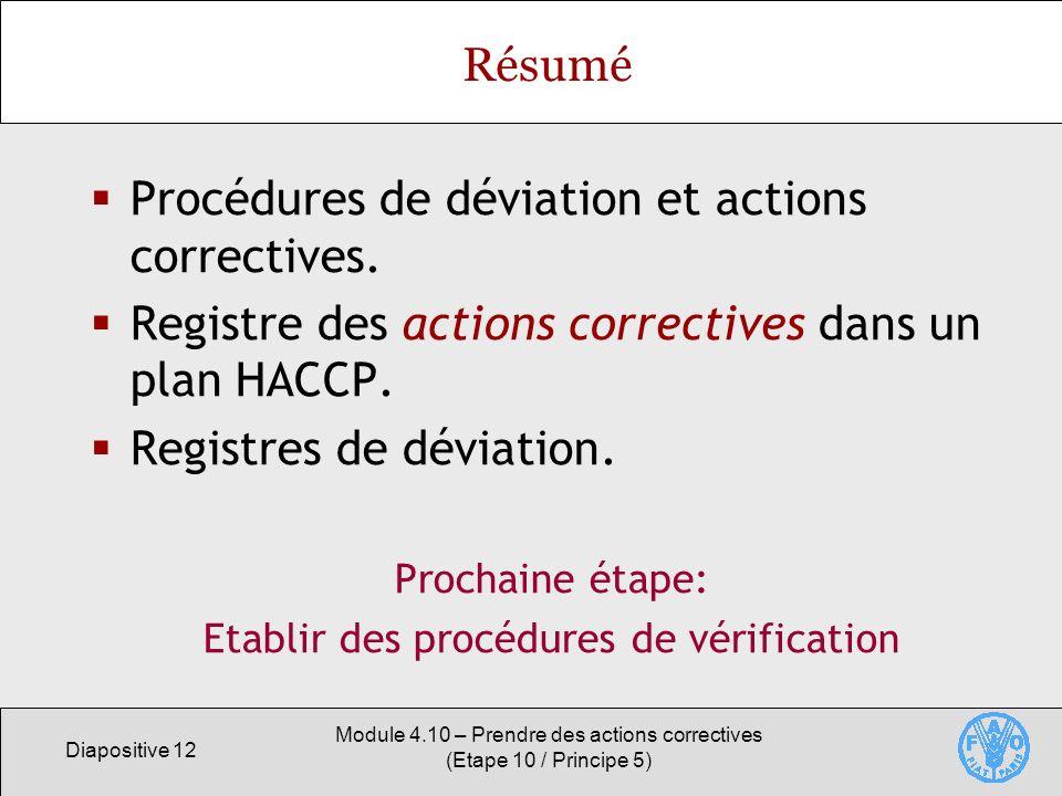 Diapositive 12 Module 4.10 – Prendre des actions correctives (Etape 10 / Principe 5) Résumé Procédures de déviation et actions correctives. Registre d