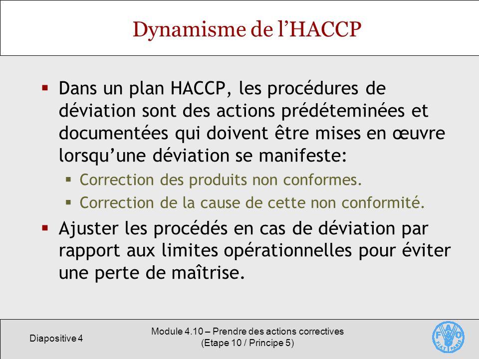 Diapositive 4 Module 4.10 – Prendre des actions correctives (Etape 10 / Principe 5) Dynamisme de lHACCP Dans un plan HACCP, les procédures de déviation sont des actions prédéteminées et documentées qui doivent être mises en œuvre lorsquune déviation se manifeste: Correction des produits non conformes.