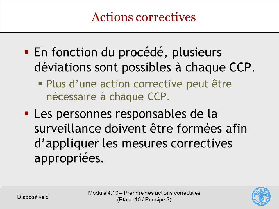 Diapositive 5 Module 4.10 – Prendre des actions correctives (Etape 10 / Principe 5) Actions correctives En fonction du procédé, plusieurs déviations s