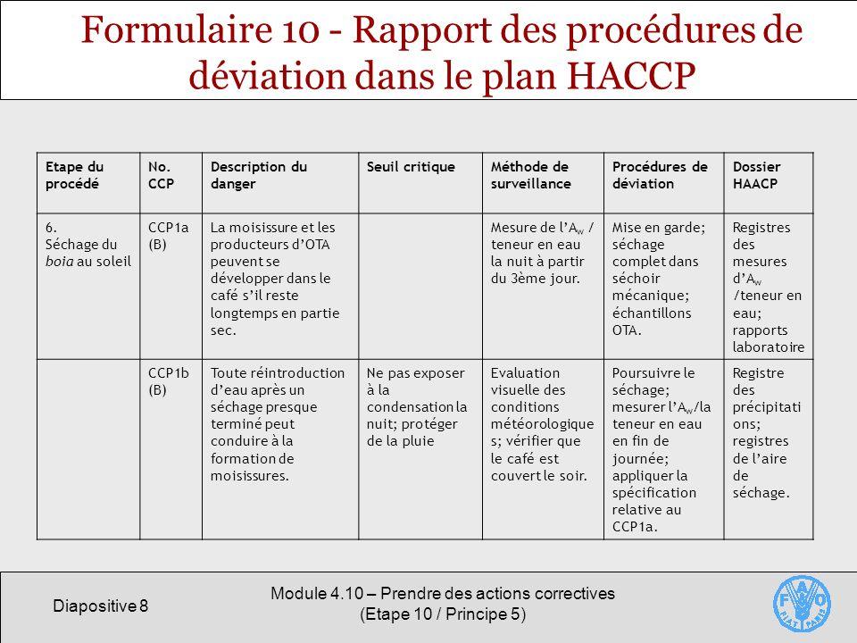 Diapositive 8 Module 4.10 – Prendre des actions correctives (Etape 10 / Principe 5) Formulaire 10 - Rapport des procédures de déviation dans le plan HACCP Etape du procédé No.