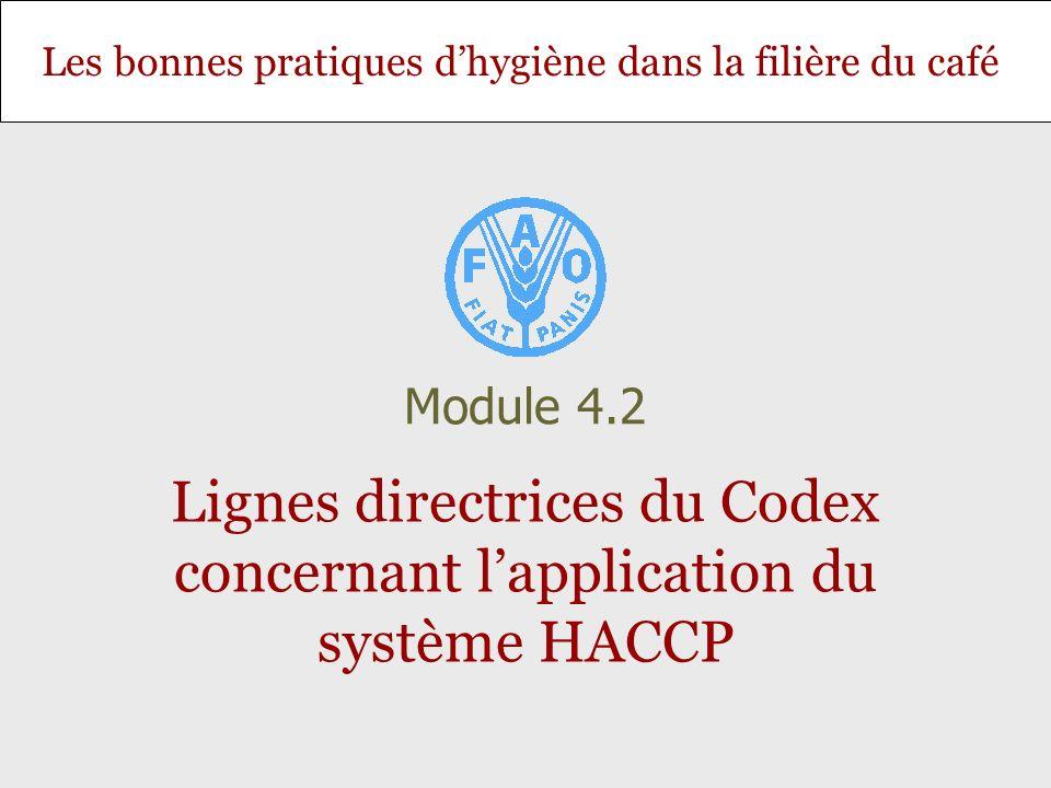 Diapositive 12 Module 4.2 – Lignes directrices du Codex concernant lapplication du système HACCP Les 7 principes HACCP 1.Procéder à une analyse des dangers, 2.Déterminer les points critiques à maîtriser (CCP), 3.Fixer le ou les seuil(s) critique(s), 4.Établir un système de surveillance permettant de contrôler les CCP, 5.Déterminer les mesures correctives à prendre, 6.Appliquer des mesures de vérification, 7.Constituer un dossier.