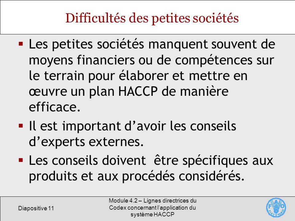 Diapositive 11 Module 4.2 – Lignes directrices du Codex concernant lapplication du système HACCP Difficultés des petites sociétés Les petites sociétés