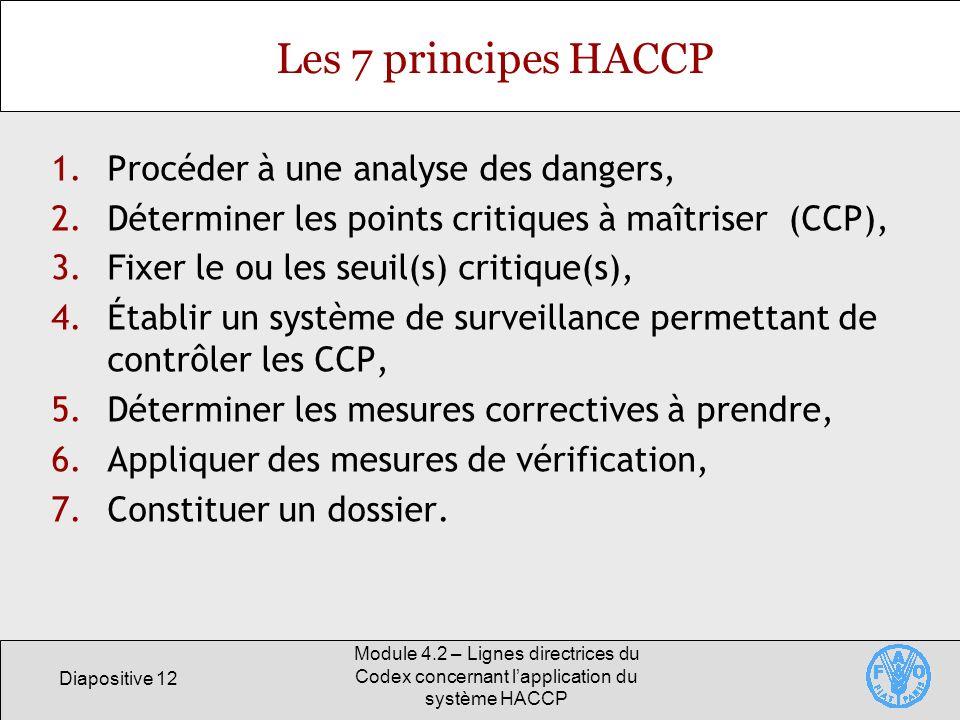 Diapositive 12 Module 4.2 – Lignes directrices du Codex concernant lapplication du système HACCP Les 7 principes HACCP 1.Procéder à une analyse des da