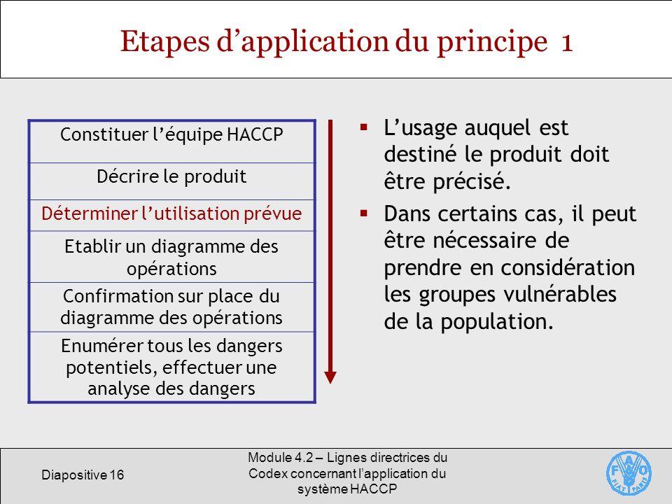 Diapositive 16 Module 4.2 – Lignes directrices du Codex concernant lapplication du système HACCP Etapes dapplication du principe 1 Constituer léquipe