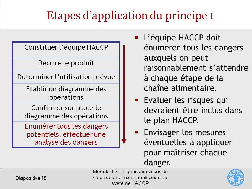 Diapositive 18 Module 4.2 – Lignes directrices du Codex concernant lapplication du système HACCP Etapes dapplication du principe 1 Constituer léquipe