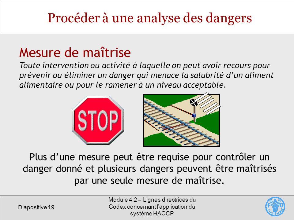 Diapositive 19 Module 4.2 – Lignes directrices du Codex concernant lapplication du système HACCP Procéder à une analyse des dangers Mesure de maîtrise