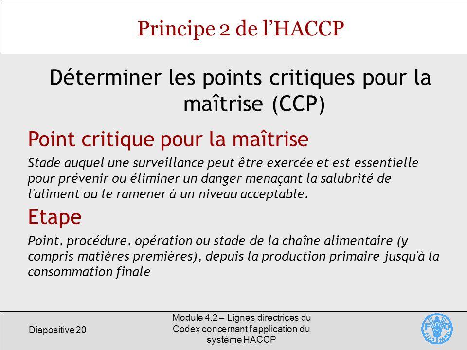 Diapositive 20 Module 4.2 – Lignes directrices du Codex concernant lapplication du système HACCP Principe 2 de lHACCP Déterminer les points critiques