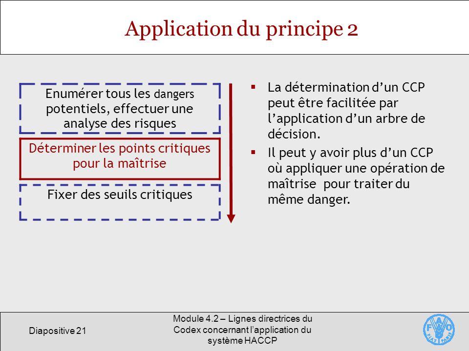 Diapositive 21 Module 4.2 – Lignes directrices du Codex concernant lapplication du système HACCP Application du principe 2 Enumérer tous les dangers p