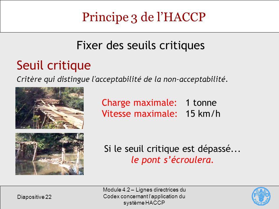 Diapositive 22 Module 4.2 – Lignes directrices du Codex concernant lapplication du système HACCP Principe 3 de lHACCP Fixer des seuils critiques Seuil