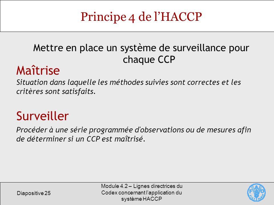 Diapositive 25 Module 4.2 – Lignes directrices du Codex concernant lapplication du système HACCP Principe 4 de lHACCP Mettre en place un système de su