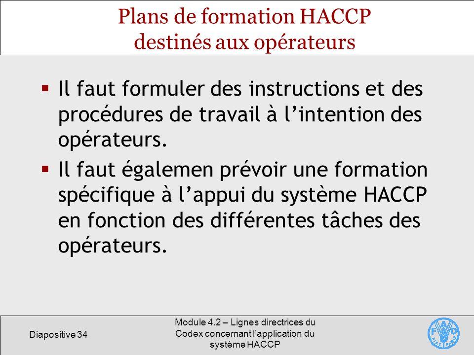 Diapositive 34 Module 4.2 – Lignes directrices du Codex concernant lapplication du système HACCP Plans de formation HACCP destinés aux opérateurs Il f