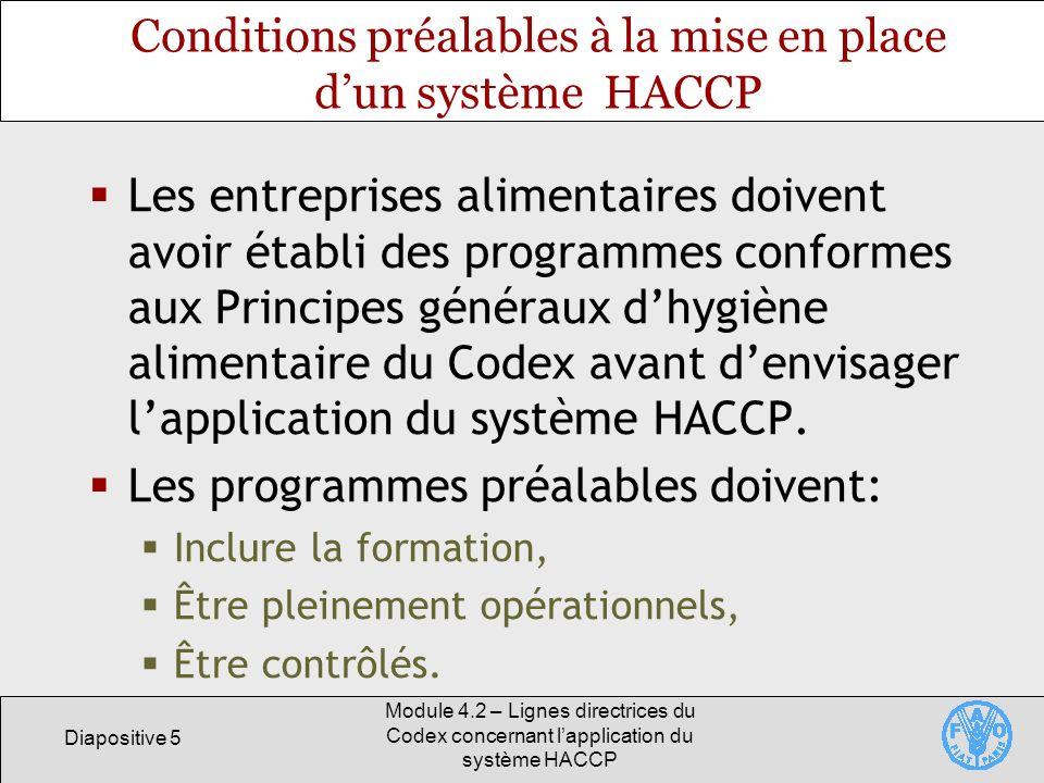Diapositive 6 Module 4.2 – Lignes directrices du Codex concernant lapplication du système HACCP Justification des programmes préalables Lobjectif de lHACCP est de permettre aux entreprises deffectuer des contrôles à des points critiques.