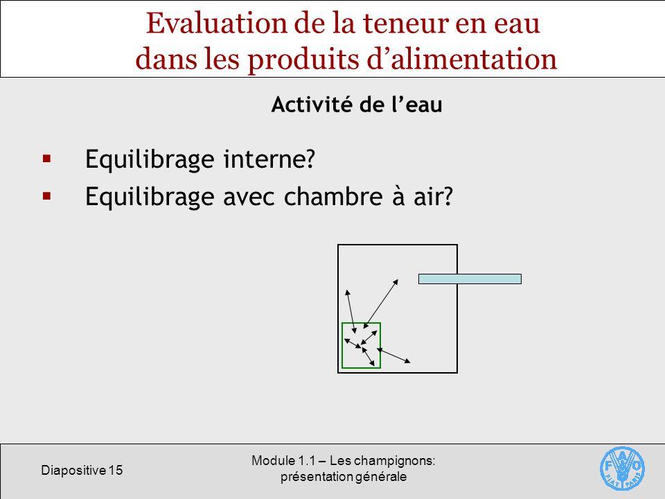 Diapositive 15 Module 1.1 – Les champignons: présentation générale Evaluation de la teneur en eau dans les produits dalimentation Equilibrage interne?
