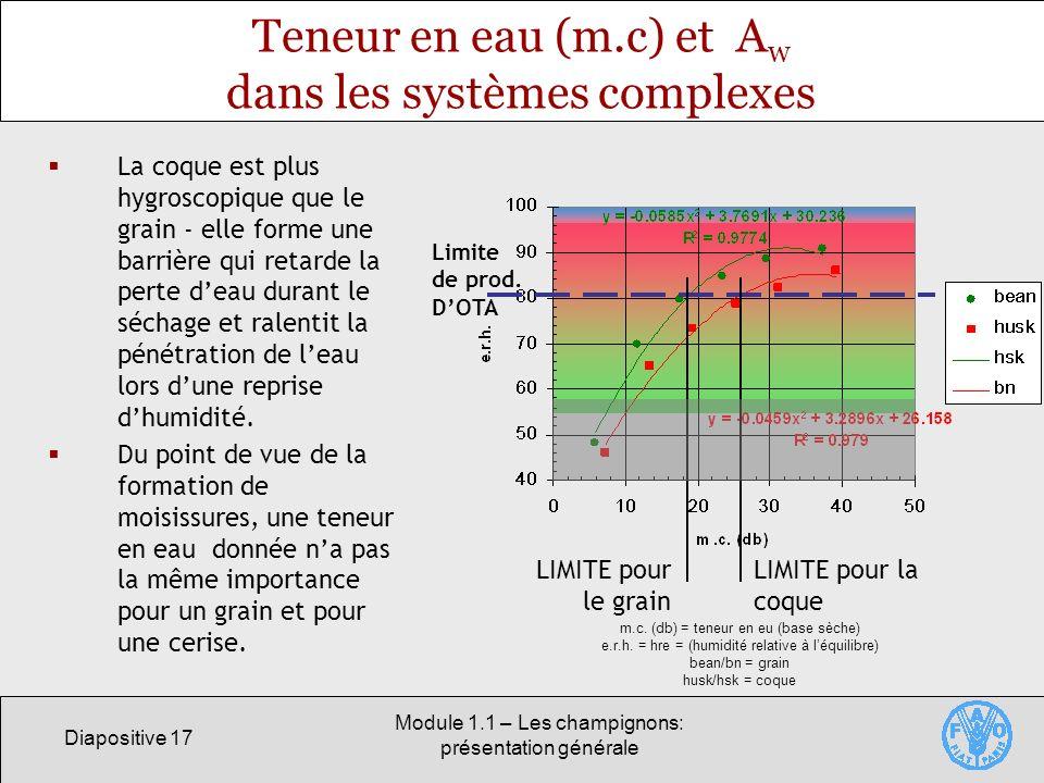 Diapositive 17 Module 1.1 – Les champignons: présentation générale Teneur en eau (m.c) et A w dans les systèmes complexes La coque est plus hygroscopi