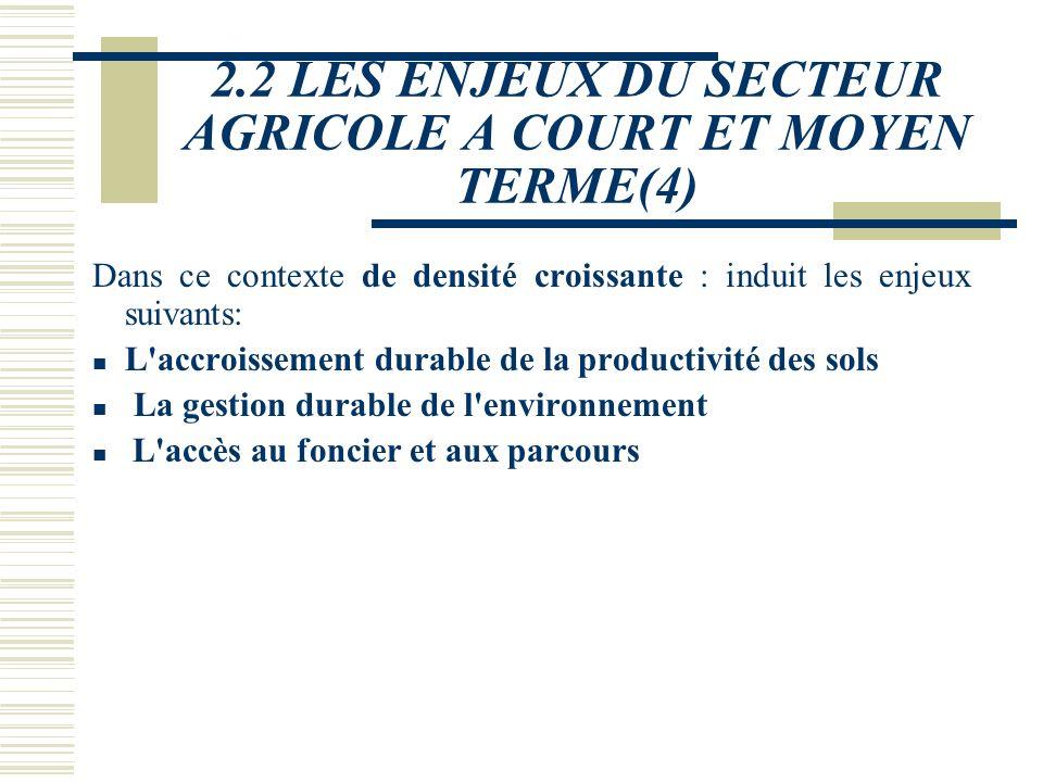 2.2 LES ENJEUX DU SECTEUR AGRICOLE A COURT ET MOYEN TERME(3) Ces produits entrent directement en concurrence avec les produits burkinabè sur le marché