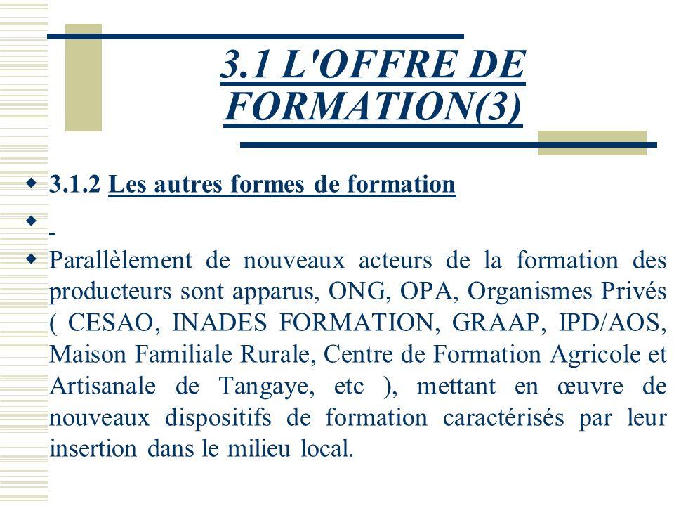 3.1 L'OFFRE DE FORMATION(2) De nos jours au sein du MAHRH, les systèmes de formation déployés à l'endroit des producteurs sont : · le système de Forma