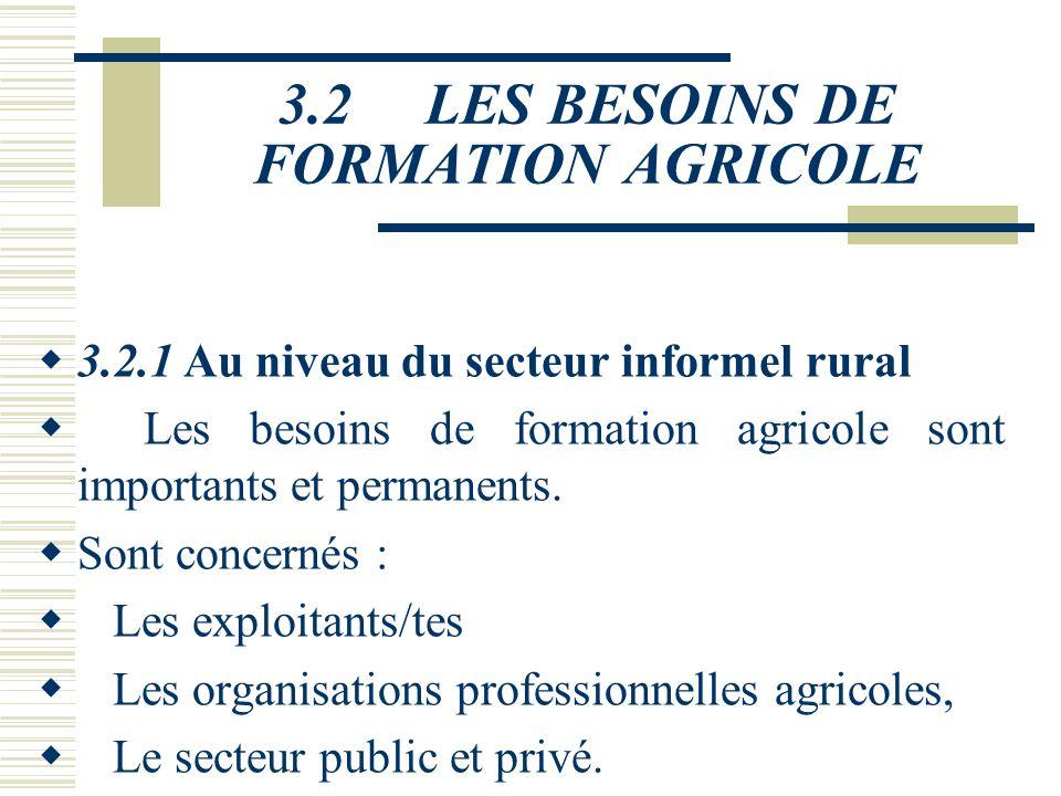 3.1 L'OFFRE DE FORMATION(6) Dépourvus d'une vision commune du développement du capital humain du secteur agricole LCes dispositifs représentent des co