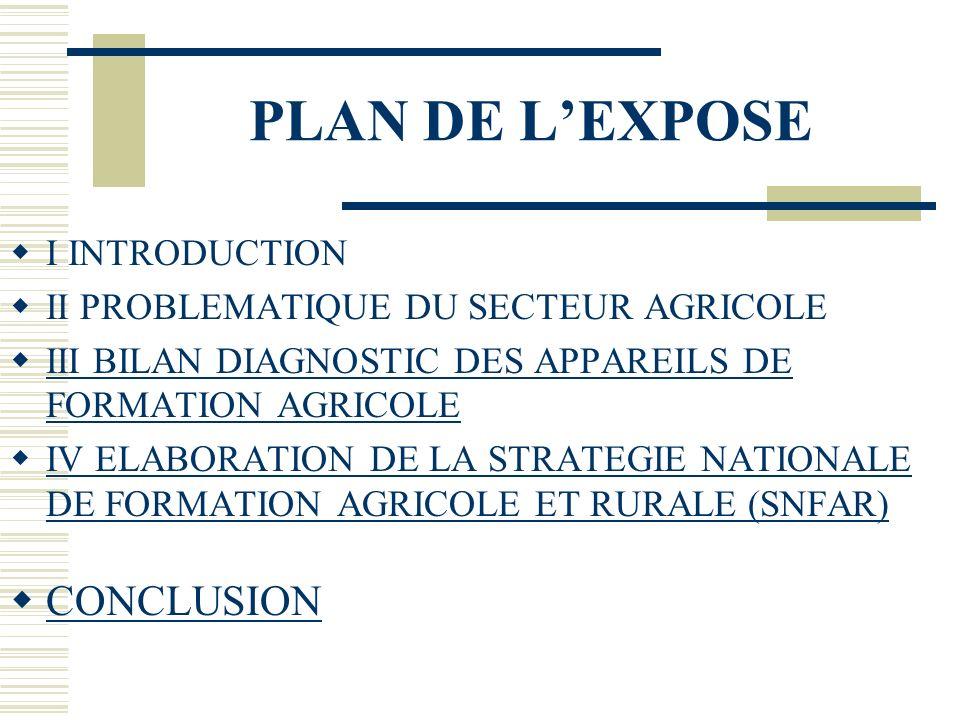 PLAN DE LEXPOSE I INTRODUCTION II PROBLEMATIQUE DU SECTEUR AGRICOLE III BILAN DIAGNOSTIC DES APPAREILS DE FORMATION AGRICOLE III BILAN DIAGNOSTIC DES APPAREILS DE FORMATION AGRICOLE IV ELABORATION DE LA STRATEGIE NATIONALE DE FORMATION AGRICOLE ET RURALE (SNFAR) IV ELABORATION DE LA STRATEGIE NATIONALE DE FORMATION AGRICOLE ET RURALE (SNFAR) CONCLUSION