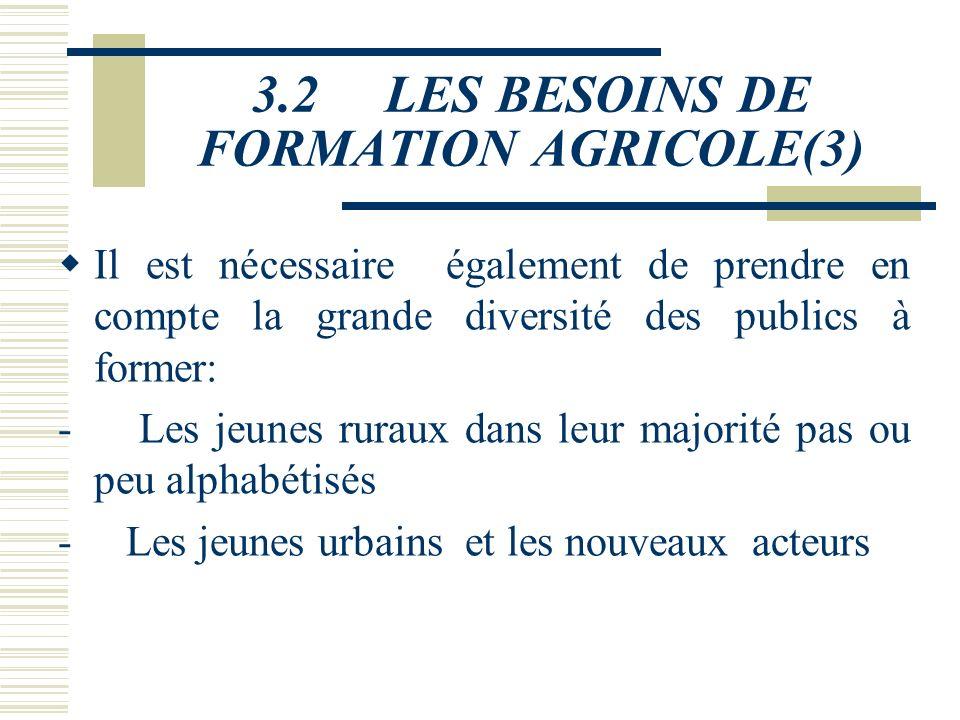 3.2 LES BESOINS DE FORMATION AGRICOLE(2) 3.2.1.1 Les exploitants agricoles L'agriculture burkinabé est d'abord le fait de la petite paysannerie. Le no