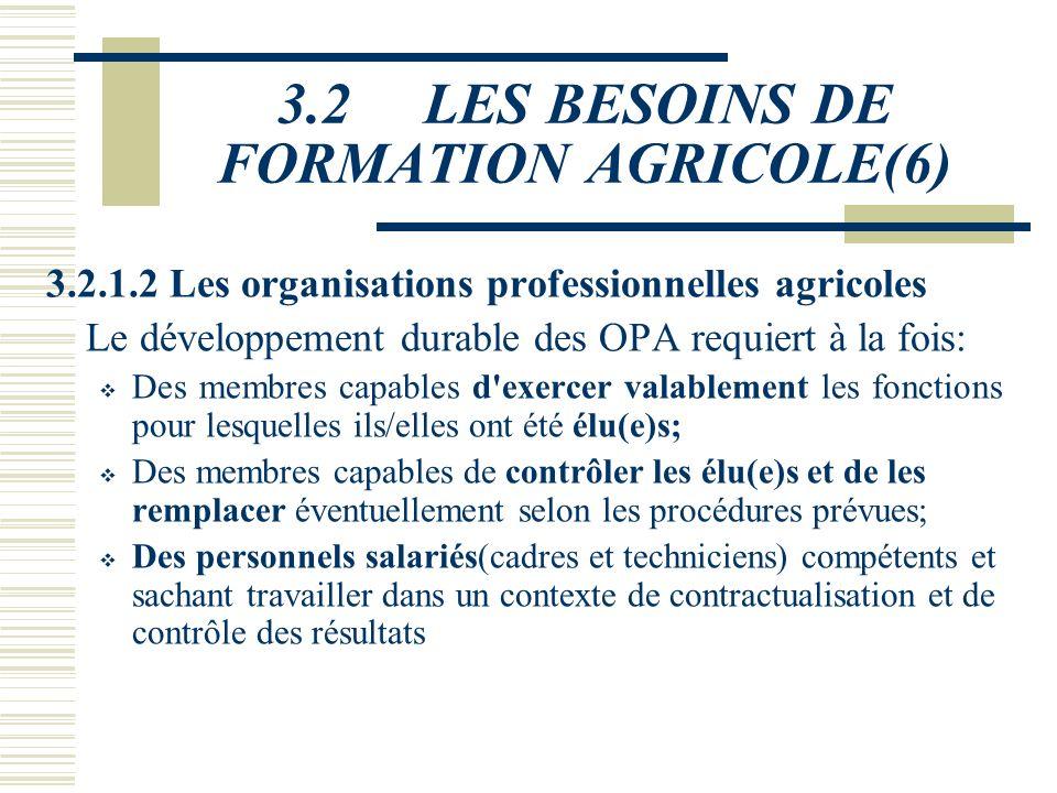 3.2 LES BESOINS DE FORMATION AGRICOLE(5) On constate ainsi une forte déperdition du système, qui met en évidence le fait que les titulaires du CEPE re