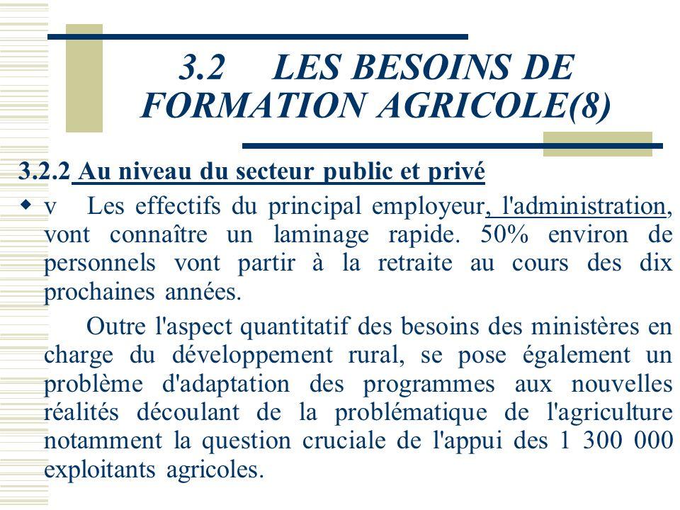 3.2 LES BESOINS DE FORMATION AGRICOLE(7) Ce constat met en évidence l'importance des formations agricoles tant en termes d'ingénieurs et techniciens s