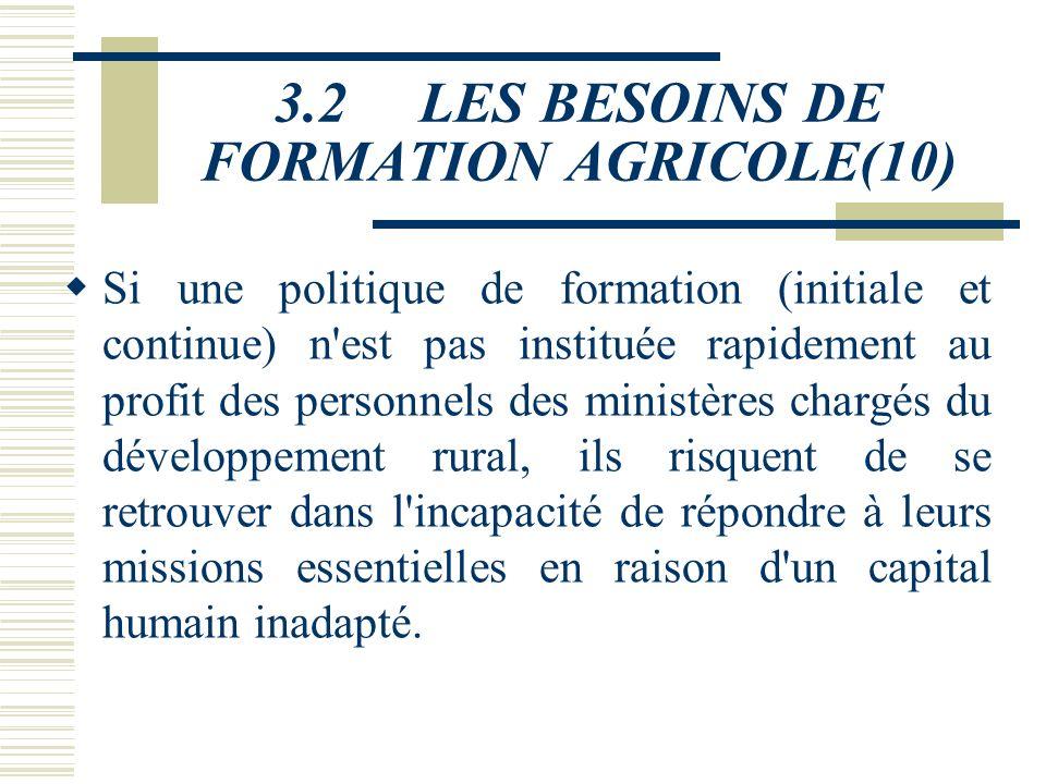 3.2 LES BESOINS DE FORMATION AGRICOLE(8) 3.2.2 Au niveau du secteur public et privé v Les effectifs du principal employeur, l'administration, vont con