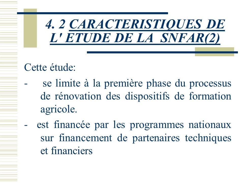 4. 2 CARACTERISTIQUES DE L' ETUDE DE LA SNFAR Cette étude qui avait pour but d'aider le Burkina Faso à élaborer sa SNFAR et devait prendre en compte d