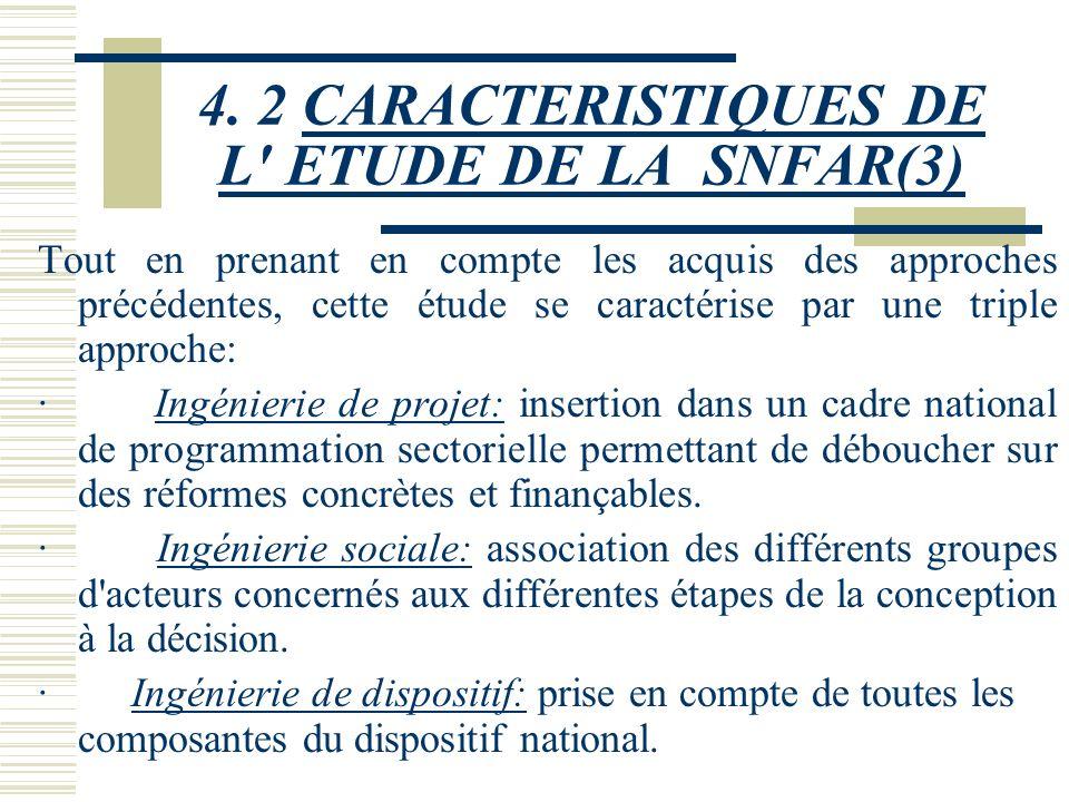 4. 2 CARACTERISTIQUES DE L' ETUDE DE LA SNFAR(2) Cette étude: - se limite à la première phase du processus de rénovation des dispositifs de formation