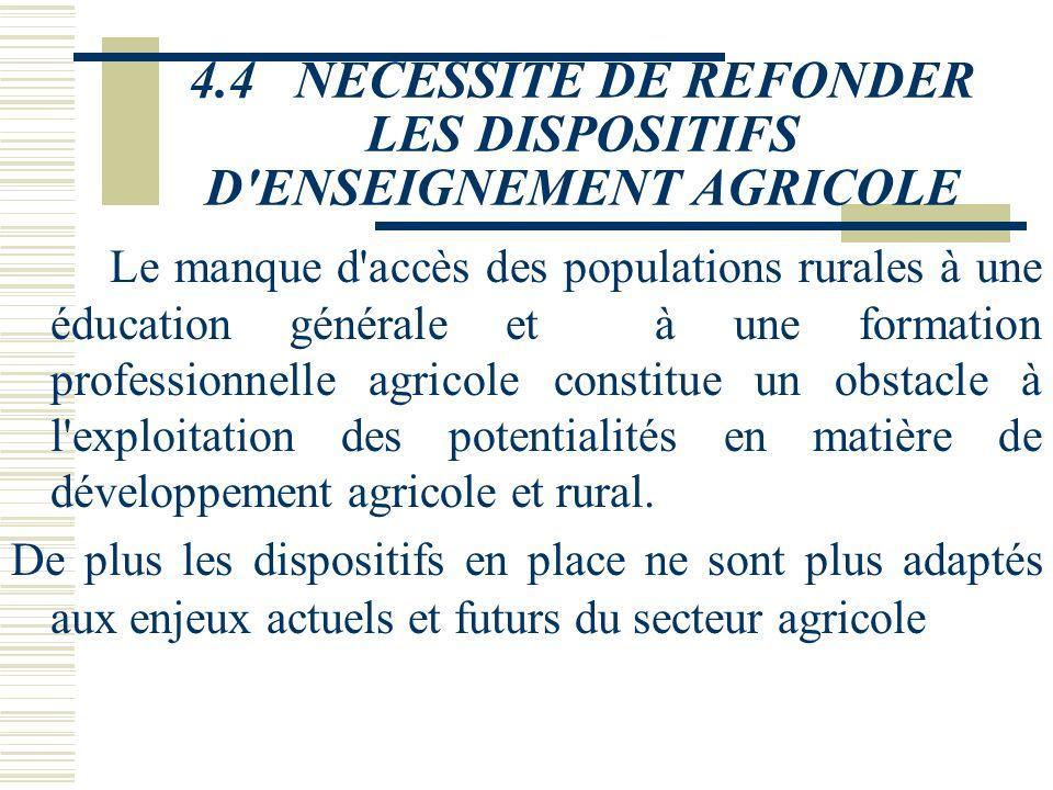 4.3NECESSITE DE FORMER UNE NOUVELLE GENERATION DE PRODUCTEURS AGRICOLES
