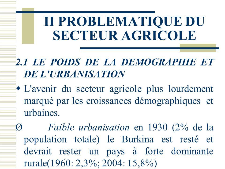 II PROBLEMATIQUE DU SECTEUR AGRICOLE 2.1 LE POIDS DE LA DEMOGRAPHIE ET DE L URBANISATION L avenir du secteur agricole plus lourdement marqué par les croissances démographiques et urbaines.