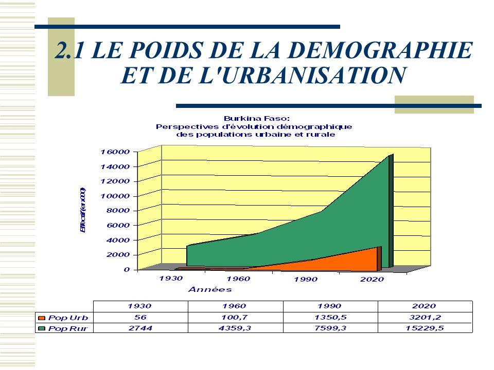 2.1 LE POIDS DE LA DEMOGRAPHIE ET DE L'URBANISATION