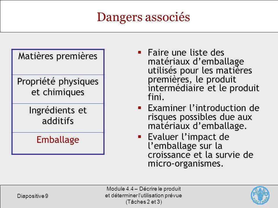 Diapositive 9 Module 4.4 – Décrire le produit et déterminer lutilisation prévue (Tâches 2 et 3) Dangers associés Faire une liste des matériaux demball