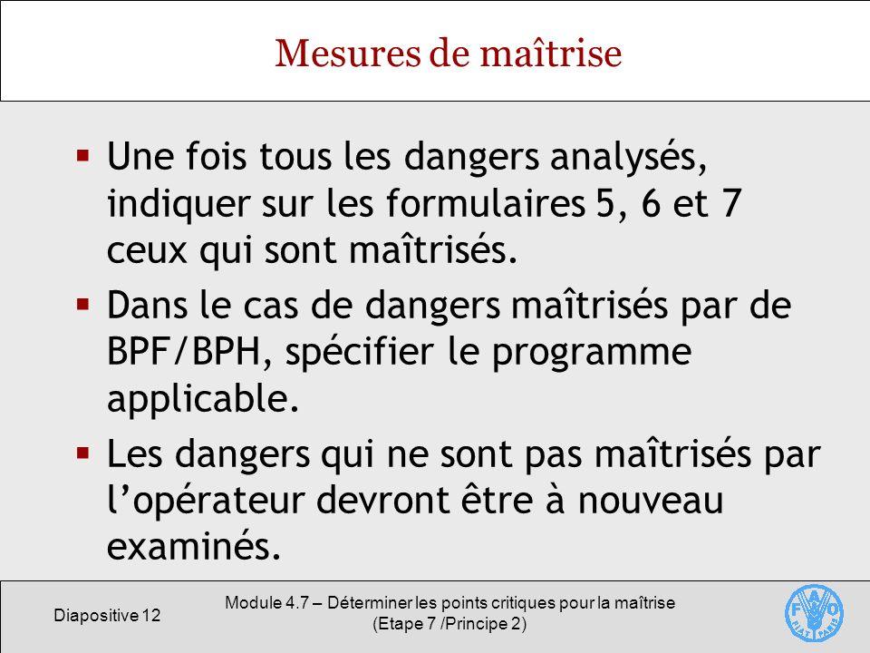 Diapositive 12 Module 4.7 – Déterminer les points critiques pour la maîtrise (Etape 7 /Principe 2) Mesures de maîtrise Une fois tous les dangers analy