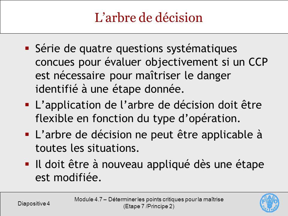 Diapositive 4 Module 4.7 – Déterminer les points critiques pour la maîtrise (Etape 7 /Principe 2) Larbre de décision Série de quatre questions systéma