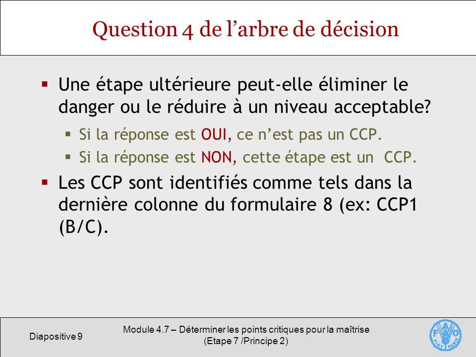 Diapositive 10 Module 4.7 – Déterminer les points critiques pour la maîtrise (Etape 7 /Principe 2) Formulaire 8 – Réception des matières premières (exemple du boia) Intrants/Etape de traitement Catégorie de danger identifiéQuestion CCP No.