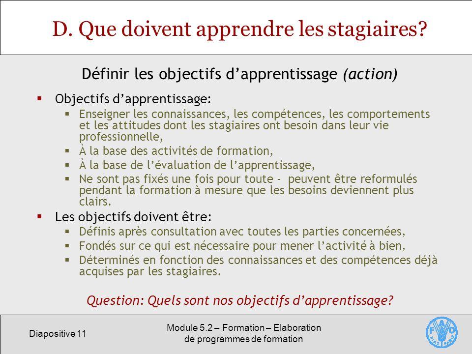 Diapositive 11 Module 5.2 – Formation – Elaboration de programmes de formation D. Que doivent apprendre les stagiaires? Objectifs dapprentissage: Ense