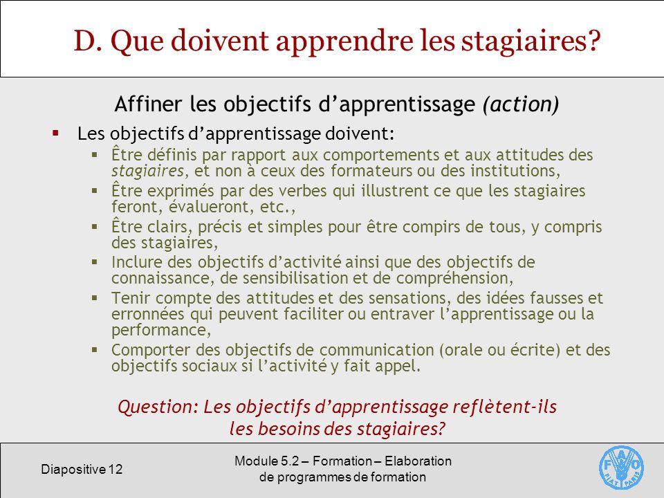Diapositive 12 Module 5.2 – Formation – Elaboration de programmes de formation D. Que doivent apprendre les stagiaires? Les objectifs dapprentissage d