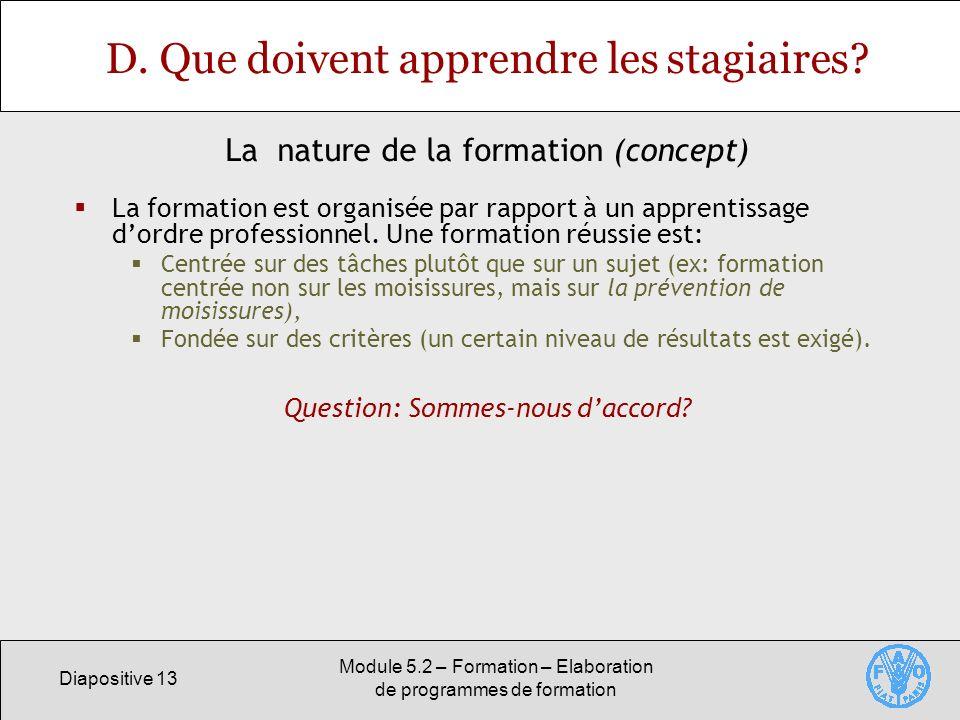 Diapositive 13 Module 5.2 – Formation – Elaboration de programmes de formation D. Que doivent apprendre les stagiaires? La formation est organisée par