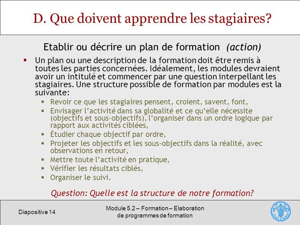 Diapositive 14 Module 5.2 – Formation – Elaboration de programmes de formation D. Que doivent apprendre les stagiaires? Un plan ou une description de