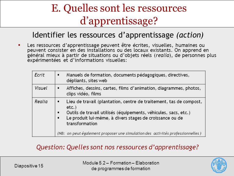 Diapositive 15 Module 5.2 – Formation – Elaboration de programmes de formation E. Quelles sont les ressources dapprentissage? Les ressources dapprenti