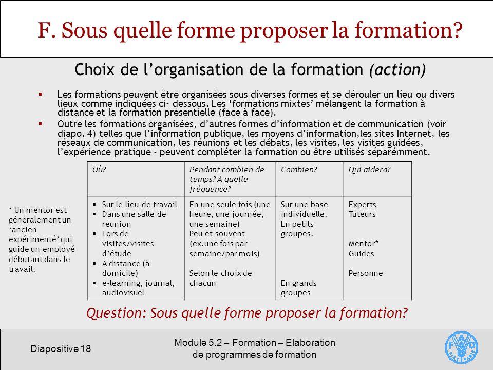 Diapositive 18 Module 5.2 – Formation – Elaboration de programmes de formation F. Sous quelle forme proposer la formation? Les formations peuvent être