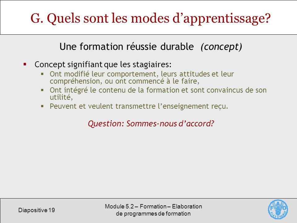 Diapositive 19 Module 5.2 – Formation – Elaboration de programmes de formation G. Quels sont les modes dapprentissage? Concept signifiant que les stag