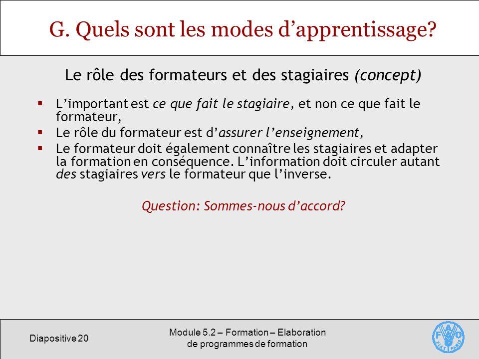 Diapositive 20 Module 5.2 – Formation – Elaboration de programmes de formation G. Quels sont les modes dapprentissage? Limportant est ce que fait le s