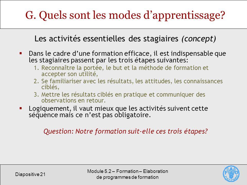 Diapositive 21 Module 5.2 – Formation – Elaboration de programmes de formation G. Quels sont les modes dapprentissage? Dans le cadre dune formation ef