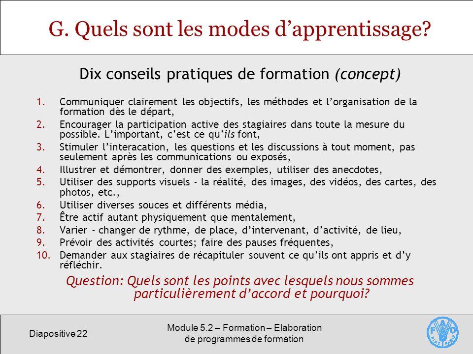 Diapositive 22 Module 5.2 – Formation – Elaboration de programmes de formation G. Quels sont les modes dapprentissage? 1.Communiquer clairement les ob
