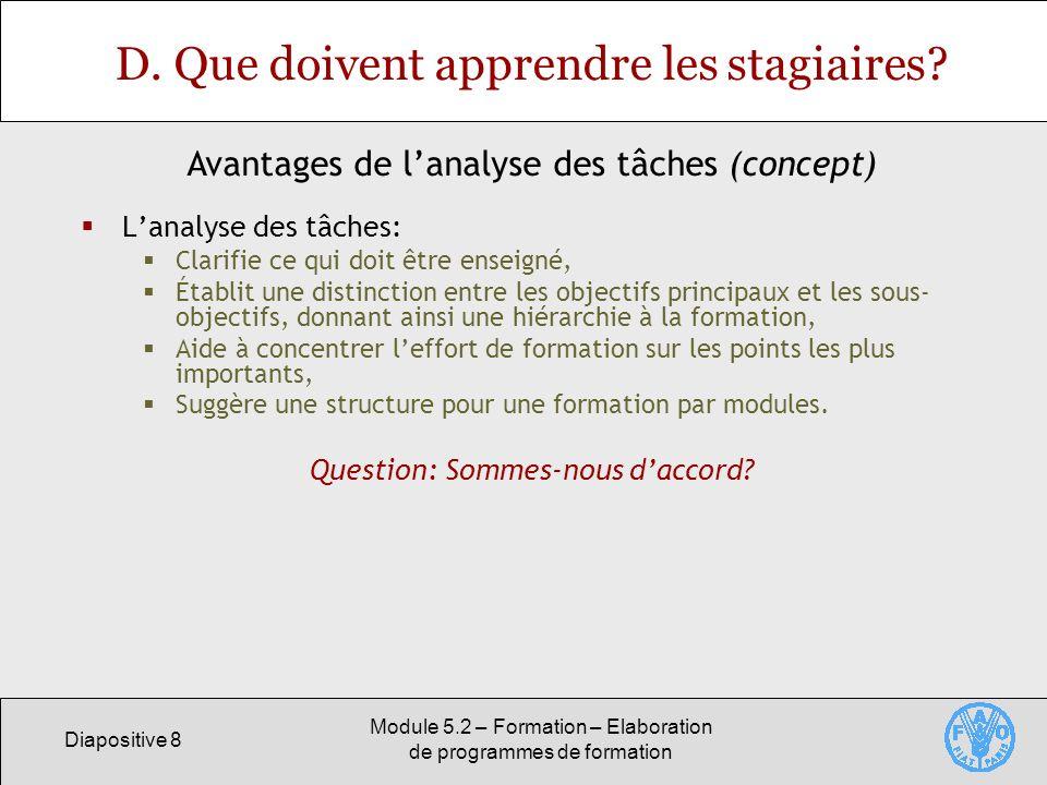 Diapositive 8 Module 5.2 – Formation – Elaboration de programmes de formation D. Que doivent apprendre les stagiaires? Lanalyse des tâches: Clarifie c