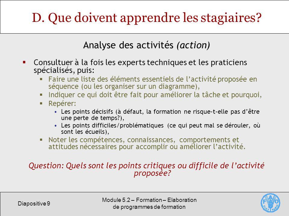 Diapositive 9 Module 5.2 – Formation – Elaboration de programmes de formation D. Que doivent apprendre les stagiaires? Consultuer à la fois les expert