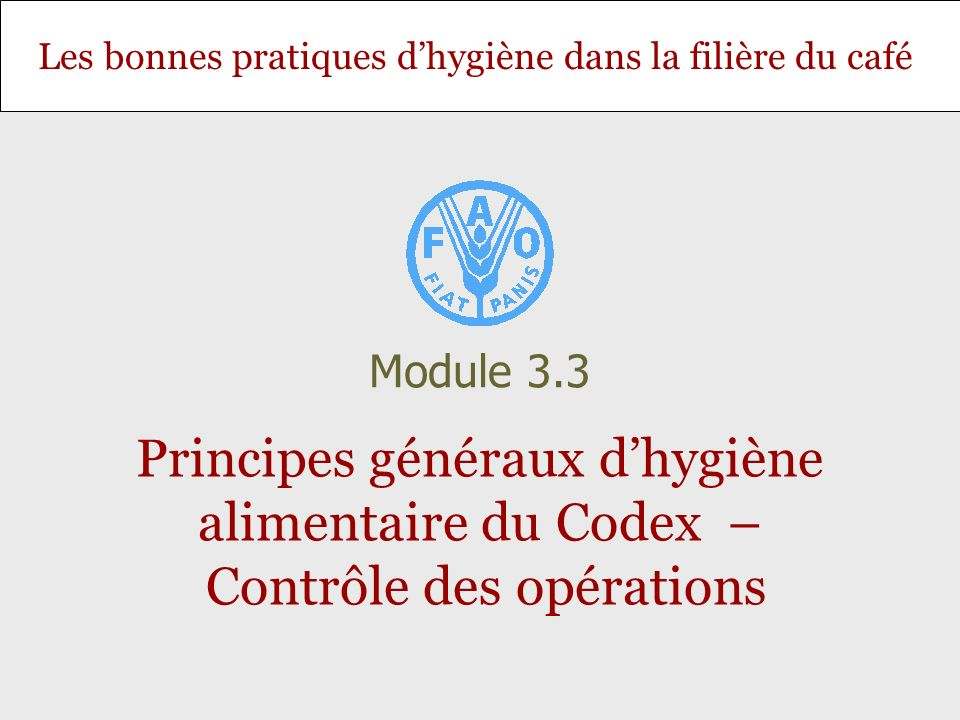 Diapositive 32 Module 3.3 – Principes généraux dhygiène alimentaire du Codex – Contrôle des opérations Segment C: Le nettoyage, le tri et la classification consistent à transformer la café en parche ou les cerises sèches en grains par décorticage/déparchage.